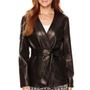 Liz Claiborne® Leather Kimono Jacket
