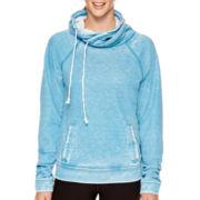 Reebok® Burnout Fleece Cowlneck Yoga Pullover