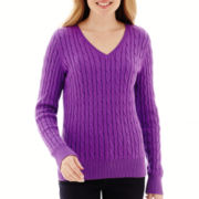St. John's Bay® Long-Sleeve Cable V-Neck Sweater