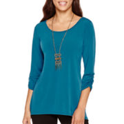 Alyx® 3/4-Sleeve Sharkbite Top with Necklace