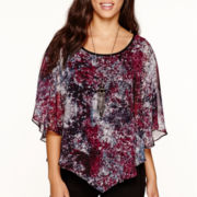 Alyx® 3/4-Sleeve Printed Blouse with Necklace