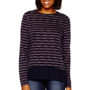 Stylus™ Long-Sleeve Shadow-Striped High-Low Layered T-Shirt- Petite