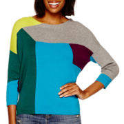 Stylus™ 3/4-Sleeve Colorblock Intarsia Sweater