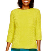 Stylus™ 3/4-Sleeve Boxy Cable Sweater