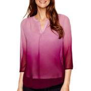 Liz Claiborne® 3/4-Sleeve Ombré Blouse