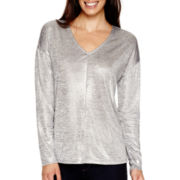 Liz Claiborne® Long-Sleeve Drop-Shoulder V-Neck T-Shirt