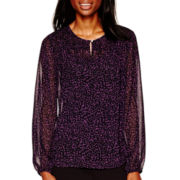 Liz Claiborne® Long-Sleeve Keyhole Pintuck Shirt
