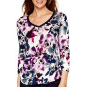 Liz Claiborne® 3/4-Sleeve V-Neck Floral Print T-Shirt
