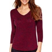 3/4-Sleeve Marled V-Neck Knit Top