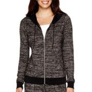 Liz Claiborne® Long-Sleeve Marled Zip-Front Hoodie