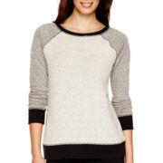 Liz Claiborne® Raglan-Sleeve Contrast Textured Sweatshirt