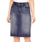 Liz Claiborne® Midi A-Line Denim Skirt