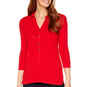Liz Claiborne® 3/4-Sleeve Solid Knit Tunic