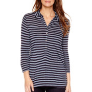Liz Claiborne® 3/4-Sleeve Striped Knit Tunic