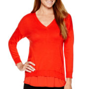 Liz Claiborne® 3/4-Sleeve V-Neck Layered Sweater