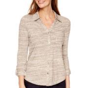 Liz Claiborne® 3/4-Sleeve Button-Front Knit Shirt