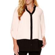 Alyx® 3/4-Sleeve Mandarin Colorblock Blouse with Cami - Plus