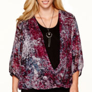 Alyx® 3/4-Sleeve Print Wrap Top with Necklace - Plus