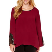 Alyx® Long-Sleeve Open Hem Top with Lace Trim - Plus