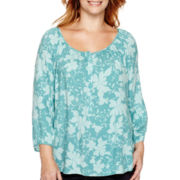 St. John's Bay® 3/4-Sleeve Henley Peasant Top - Plus