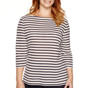 St. John's Bay® 3/4-Sleeve Tunic Top - Plus