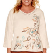Alfred Dunner® Colorado Springs 3/4-Sleeve Embroidered Asymmetric Top - Plus