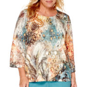 Alfred Dunner® Colorado Springs 3/4-Sleeve Feather Paisley Top - Plus