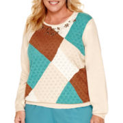 Alfred Dunner® Colorado Springs Long-Sleeve Colorblock Pointelle Sweater - Plus