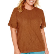 Alfred Dunner® Colorado Springs Short-Sleeve Solid Textured Sweater Shell - Plus