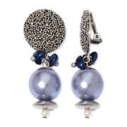 Aris by Treska Blue Bead Silver-Tone Clip-On Earrings
