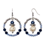Aris by Treska Blue Bead Silver-Tone Hoop Drop Earrings