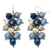 Aris by Treska Blue Bead Silver-Tone Shaky Cluster Earrings