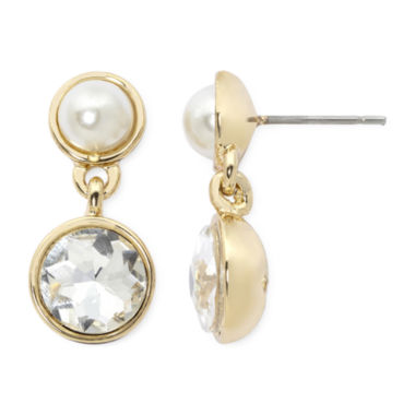 jcpenney.com | Monet® Simulated Pearl and Crystal Double Drop Earrings