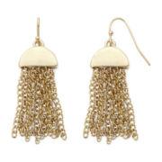 Liz Claiborne® Gold-Tone Half-Moon Tassel Drop Earrings
