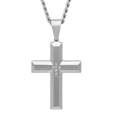 jcpenney.com | Mens Diamond-Accent Stainless Steel Cross Pendant Necklace