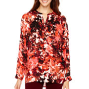 a.n.a® Long-Sleeve Embellished Blouse- Petites