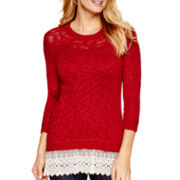 a.n.a® 3/4-Sleeve Lace-Hem Textured Knit Top