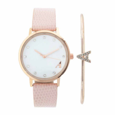 "jcpenney.com | Womens Fashion Monogram Letter ""A"" Mother-of-Pearl and Rose-Tone Dial Pink Strap Watch and Bracelet Set."