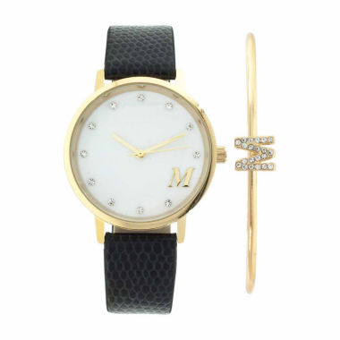 jcpenney.com | Fashion Watches Womens Mother-of-Pearl Dial Black Strap Watch