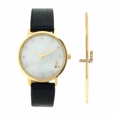 jcpenney.com | Fashion Watches Womens Mother-of-Pearl & Black Watch
