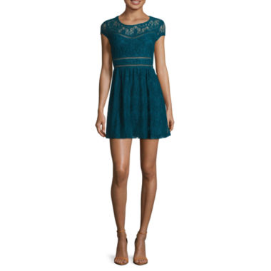 jcpenney.com | City Triangles® Short-Sleeve Allover Lace Skater Dress - Juniors