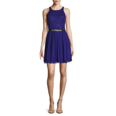 jcpenney.com | by&by Sleeveless Sequin Bust Fit-and-Flare Dress - Juniors