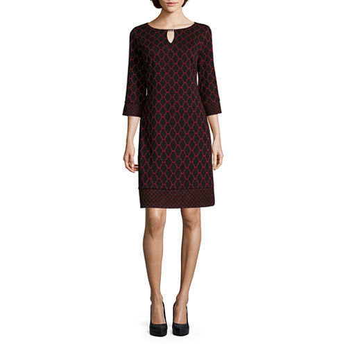 Ronni Nicole 3/4-Sleeve Trellis-Print Shift Dress