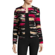 Black Label by Evan-Picone Long-Sleeve Abstract-Stripe Cardigan Jacket