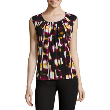 jcpenney.com | Black Label by Evan-Picone Sleeveless Pleated-Neck Chain-Link-Print Blouse