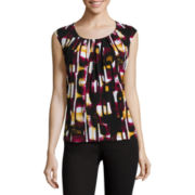 Black Label by Evan-Picone Sleeveless Pleated-Neck Chain-Link-Print Blouse