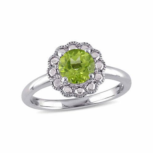 Womens Green Peridot 10K Gold Cocktail Ring