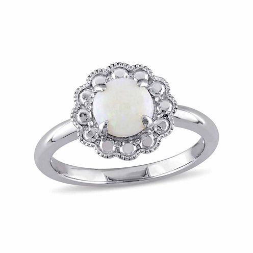 Womens White Opal 10K Gold Cocktail Ring