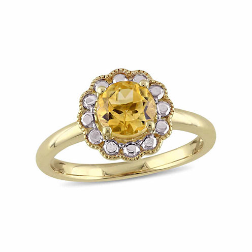 Womens Yellow Citrine 10K Gold Cocktail Ring