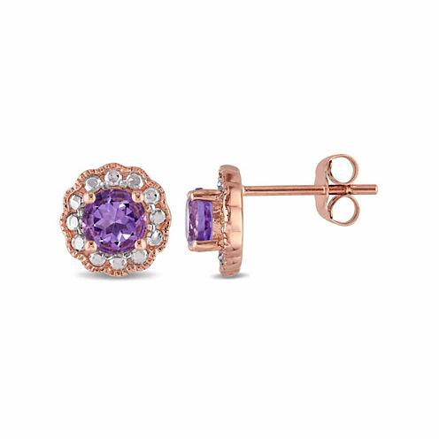 Round Purple Amethyst 10K Gold Stud Earrings
